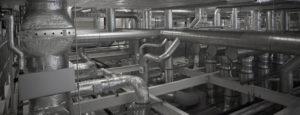 Eine Industrielüftung mit vielen Lüftungsrohren der Firma Haesler AG.