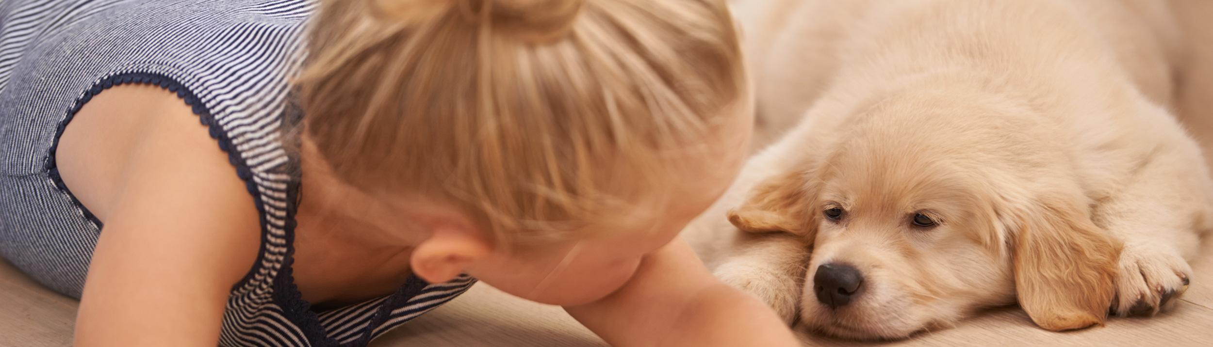 Junger Hund und kleines Mädchen liegen am Boden. Fussbodenheizungen der Firma Haesler AG, machen Ihren Fussboden gemütlich.